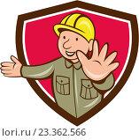 Купить «Строитель в желтой каске в рамке», иллюстрация № 23362566 (c) Aloysius Patrimonio / Фотобанк Лори