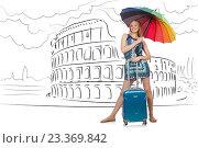 Купить «Young woman travelling to Rome in Italy», фото № 23369842, снято 23 января 2020 г. (c) Elnur / Фотобанк Лори