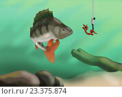 Окунь. Стоковая иллюстрация, иллюстратор Кухаренко Ефим / Фотобанк Лори