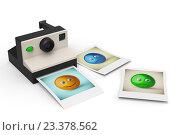 Мгновенный фотоаппарат с фотографиями смайликов. Стоковая иллюстрация, иллюстратор Rashpil / Фотобанк Лори