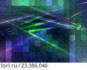 Лазерные лучи на фоне сине-зеленого светового табло. Стоковая иллюстрация, иллюстратор Николай Полыгалин / Фотобанк Лори