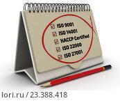 Купить «Список стандартов ISO с метками в органайзере», иллюстрация № 23388418 (c) WalDeMarus / Фотобанк Лори