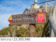 Купить «Указатель тропы на пик Руйво, Мадейра, Португалия», фото № 23393946, снято 14 января 2016 г. (c) Александр Никифоров / Фотобанк Лори