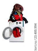 Купить «Washing machine isolated on white background», фото № 23400994, снято 16 мая 2016 г. (c) Elnur / Фотобанк Лори
