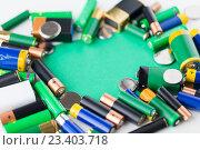 Купить «close up of green alkaline batteries», фото № 23403718, снято 3 июня 2016 г. (c) Syda Productions / Фотобанк Лори
