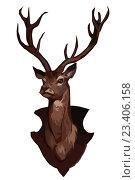 Купить «Голова оленя на щите», иллюстрация № 23406158 (c) Веснинов Янис / Фотобанк Лори