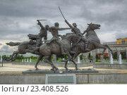 Купить «Всадники. Назрань», фото № 23408526, снято 8 мая 2016 г. (c) Юрий Каркавцев / Фотобанк Лори
