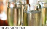 Купить «Бокалы с шампанским», видеоролик № 23411538, снято 18 августа 2016 г. (c) Александр Устич / Фотобанк Лори