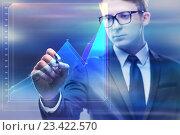 Купить «Businessman working with graph in business concept», фото № 23422570, снято 8 июля 2016 г. (c) Elnur / Фотобанк Лори