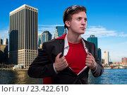 Купить «Man with red cover in super hero concept», фото № 23422610, снято 8 июля 2016 г. (c) Elnur / Фотобанк Лори