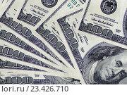 Купить «100  долларов . Фрагмент купюры .», фото № 23426710, снято 7 июня 2016 г. (c) Сергеев Валерий / Фотобанк Лори