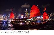 Купить «Вид на Гонконг ночью», видеоролик № 23427090, снято 24 октября 2014 г. (c) Elnur / Фотобанк Лори