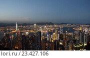 Купить «Вид на Гонконг ночью», видеоролик № 23427106, снято 24 октября 2014 г. (c) Elnur / Фотобанк Лори