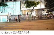 Купить «Гонконг, трамвайное движение ночью», видеоролик № 23427454, снято 24 октября 2014 г. (c) Elnur / Фотобанк Лори