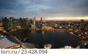 Купить «Ночной вид на небоскребы и морскую бухту азиатского города», видеоролик № 23428094, снято 24 октября 2014 г. (c) Elnur / Фотобанк Лори