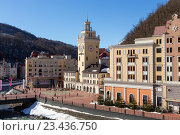 Купить «Ski resort in the Valley Rosa Khutor. Sochi, Russia», фото № 23436750, снято 10 февраля 2016 г. (c) Сергей Лаврентьев / Фотобанк Лори