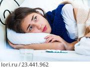 Купить «Portrait of miserable girl wth flu at home», фото № 23441962, снято 21 апреля 2019 г. (c) Яков Филимонов / Фотобанк Лори