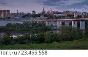 Калуга.Вид на мост через реку оку вечером. (2015 год). Стоковое видео, видеограф Эдуард Сычев / Фотобанк Лори