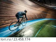 Купить «Sportsman with cycle», фото № 23458174, снято 12 мая 2016 г. (c) Raev Denis / Фотобанк Лори