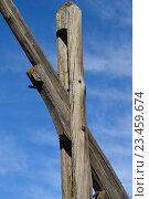"""Фрагмент деревянного колодца типа """"журавль"""" Стоковое фото, фотограф Константин Пекарь / Фотобанк Лори"""