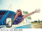 Купить «smiling young hippie woman driving minivan car», фото № 23460806, снято 27 августа 2015 г. (c) Syda Productions / Фотобанк Лори