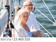 Купить «senior couple hugging on sail boat or yacht in sea», фото № 23460926, снято 18 августа 2015 г. (c) Syda Productions / Фотобанк Лори