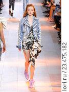 Купить «MILAN, ITALY - SEPTEMBER 26: A model walks the runway during the Roberto Cavalli fashion show as part of Milan Fashion Week Spring/Summer 2016 on September 26, 2015 in Milan, Italy.», фото № 23475182, снято 26 сентября 2015 г. (c) Anton Oparin / Фотобанк Лори