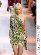 Купить «MILAN, ITALY - SEPTEMBER 26: A model walks the runway during the Roberto Cavalli fashion show as part of Milan Fashion Week Spring/Summer 2016 on September 26, 2015 in Milan, Italy.», фото № 23475198, снято 26 сентября 2015 г. (c) Anton Oparin / Фотобанк Лори