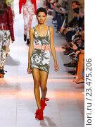 Купить «MILAN, ITALY - SEPTEMBER 26: A model walks the runway during the Roberto Cavalli fashion show as part of Milan Fashion Week Spring/Summer 2016 on September 26, 2015 in Milan, Italy.», фото № 23475206, снято 26 сентября 2015 г. (c) Anton Oparin / Фотобанк Лори