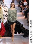 Купить «MILAN, ITALY - SEPTEMBER 26: A model walks the runway during the Roberto Cavalli fashion show as part of Milan Fashion Week Spring/Summer 2016 on September 26, 2015 in Milan, Italy.», фото № 23475230, снято 26 сентября 2015 г. (c) Anton Oparin / Фотобанк Лори