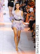 Купить «MILAN, ITALY - SEPTEMBER 26: A model walks the runway during the Roberto Cavalli fashion show as part of Milan Fashion Week Spring/Summer 2016 on September 26, 2015 in Milan, Italy.», фото № 23475282, снято 26 сентября 2015 г. (c) Anton Oparin / Фотобанк Лори