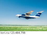 Купить «Baku - AUGUST 27, 2016: Airplane taking off on August 27 in Baku», фото № 23484798, снято 27 августа 2016 г. (c) Elnur / Фотобанк Лори