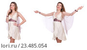 Купить «Pretty lady in light charming dress isolated on white», фото № 23485054, снято 1 декабря 2013 г. (c) Elnur / Фотобанк Лори