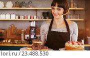 Купить «Portrait of waitress holding doughnuts and cake in café», видеоролик № 23488530, снято 23 июля 2019 г. (c) Wavebreak Media / Фотобанк Лори
