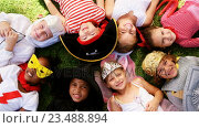 Купить «Group of kids in various costumes lying on grass», видеоролик № 23488894, снято 16 июля 2019 г. (c) Wavebreak Media / Фотобанк Лори