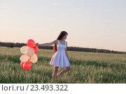 Купить «young women with balloons outdoor», фото № 23493322, снято 13 июня 2016 г. (c) Майя Крученкова / Фотобанк Лори