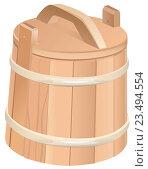 Купить «Деревянная кадка из древесины кедра», иллюстрация № 23494554 (c) Алексей Григорьев / Фотобанк Лори