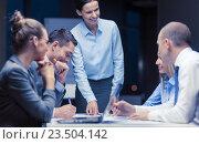 Купить «smiling female boss talking to business team», фото № 23504142, снято 9 ноября 2013 г. (c) Syda Productions / Фотобанк Лори