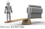 Купить «Сравнение эффективности робота и человека. Один робот заменяет нескольких людей», иллюстрация № 23507682 (c) WalDeMarus / Фотобанк Лори