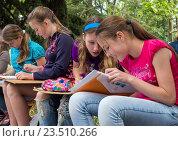 Купить «Группа детей занимается рисованием на улице», фото № 23510266, снято 9 июня 2016 г. (c) Вячеслав Палес / Фотобанк Лори