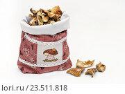 Купить «Сушёные белые грибы в мешочке», эксклюзивное фото № 23511818, снято 11 сентября 2016 г. (c) Dmitry29 / Фотобанк Лори