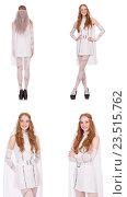 Купить «Pretty lady in light charming dress isolated on white», фото № 23515762, снято 4 декабря 2013 г. (c) Elnur / Фотобанк Лори
