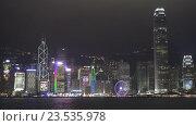 Гонконг ночью. Гавань Виктория (2016 год). Редакционное видео, видеограф Михаил Коханчиков / Фотобанк Лори