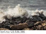 Побережье Грузии, Черное море в шторм, Поти. Стоковое фото, фотограф Koba Samurkasov / Фотобанк Лори