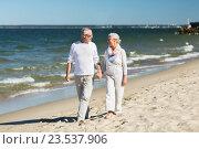 Купить «happy senior couple holding hands on summer beach», фото № 23537906, снято 18 августа 2015 г. (c) Syda Productions / Фотобанк Лори