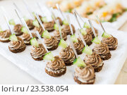 Купить «close up of canape with paste on serving tray», фото № 23538054, снято 11 июня 2016 г. (c) Syda Productions / Фотобанк Лори