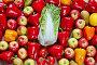 Капуста, желтый, красный и оранжевый перец, помидор, яблоко, груша и цитрусы, фото № 23544670, снято 3 мая 2016 г. (c) Олег Шкуратов / Фотобанк Лори