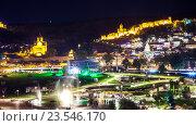 Ночной пейзаж Тбилиси, с подсветкой церкви и замка Нарикала (2015 год). Редакционное фото, фотограф Koba Samurkasov / Фотобанк Лори