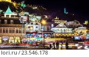 Ночной пейзаж старого города, Sololaki, Тбилиси, Республика Грузия (2015 год). Редакционное фото, фотограф Koba Samurkasov / Фотобанк Лори