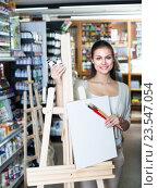 Купить «woman shopping wooden easel», фото № 23547054, снято 21 ноября 2018 г. (c) Яков Филимонов / Фотобанк Лори